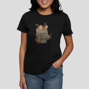 Cute Barrel of Monkeys Women's Dark T-Shirt