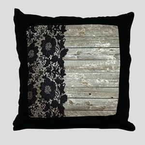 western country barn wood lace Throw Pillow