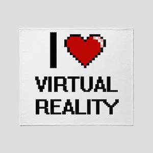 I love Virtual Reality digital desig Throw Blanket