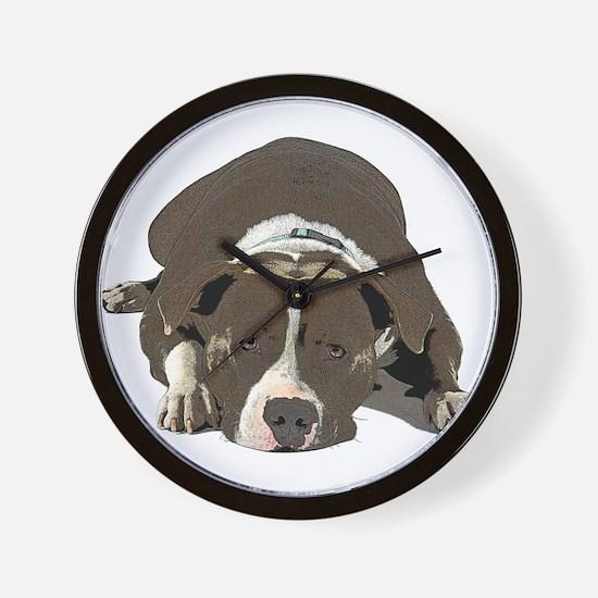 Sleepy Pit Bull look ahead Wall Clock