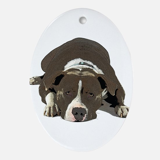 Sleepy Pit Bull look ahead Oval Ornament