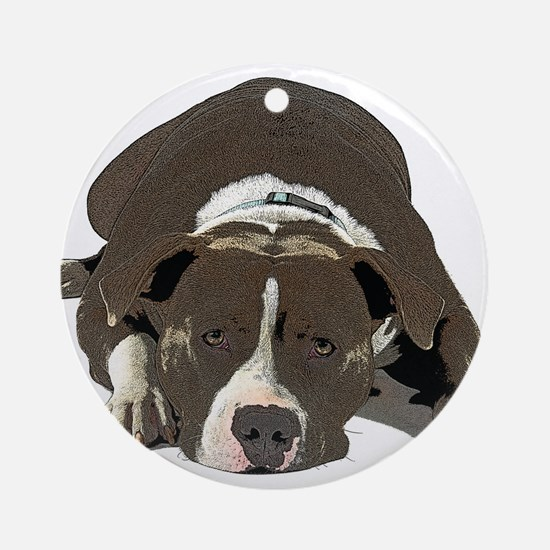 Sleepy Pit Bull look ahead Round Ornament