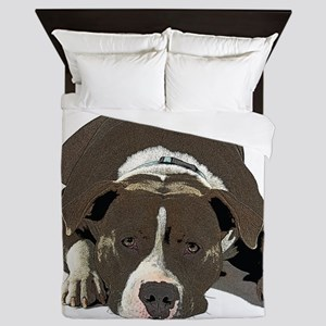 Sleepy Pit Bull look ahead Queen Duvet