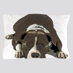 Sleepy Pit Bull look ahead Pillow Case