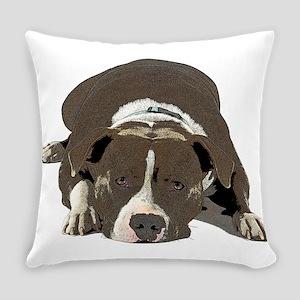 Sleepy Pit Bull look ahead Everyday Pillow