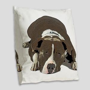 Sleepy Pit Bull look ahead Burlap Throw Pillow