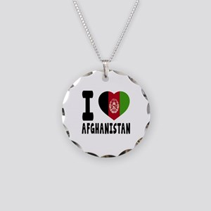 I Love Afghanistan Necklace Circle Charm