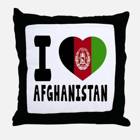 I Love Afghanistan Throw Pillow