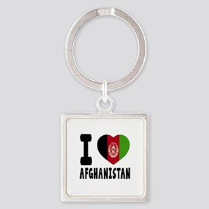 I Love Afghanistan Square Keychain