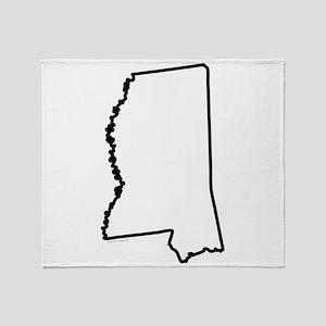 Mississippi State Outline Throw Blanket