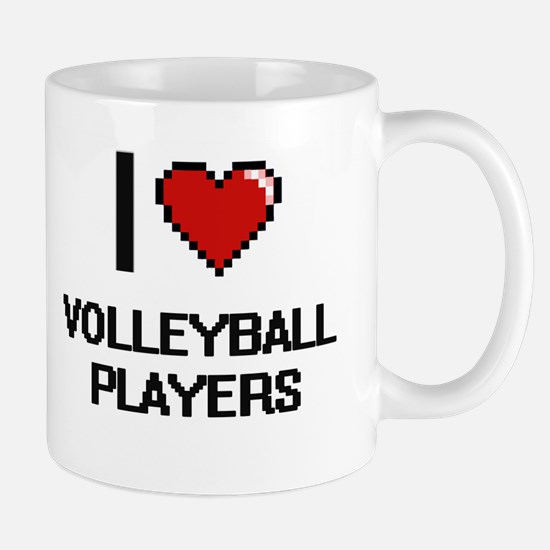 I love Volleyball Players digital design Mugs