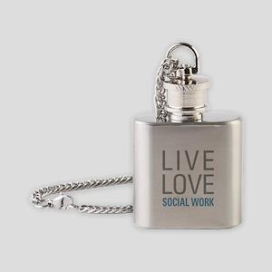 Live Love Social Work Flask Necklace