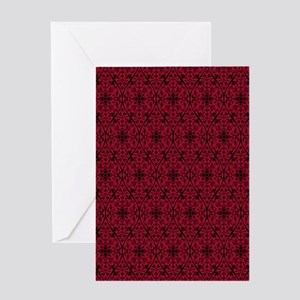 Ornate Red Gothic Pattern Greeting Cards