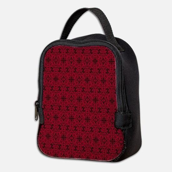 Ornate Red Gothic Pattern Neoprene Lunch Bag