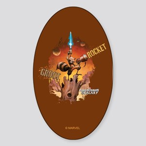 Guardians of the Galaxy Rocket and Sticker (Oval)
