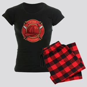 Firefighter Badge Women's Dark Pajamas