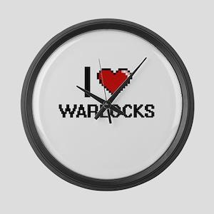 I love Warlocks digital design Large Wall Clock
