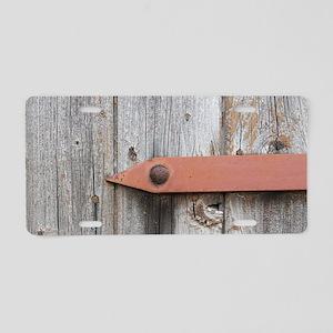 old wood Aluminum License Plate