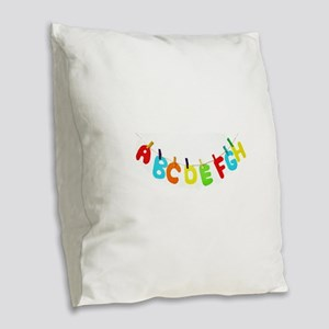 Alphabet clothesline Burlap Throw Pillow