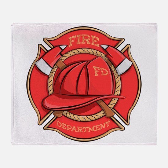 Firefighter Badge Throw Blanket