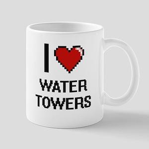 I love Water Towers digital design Mugs