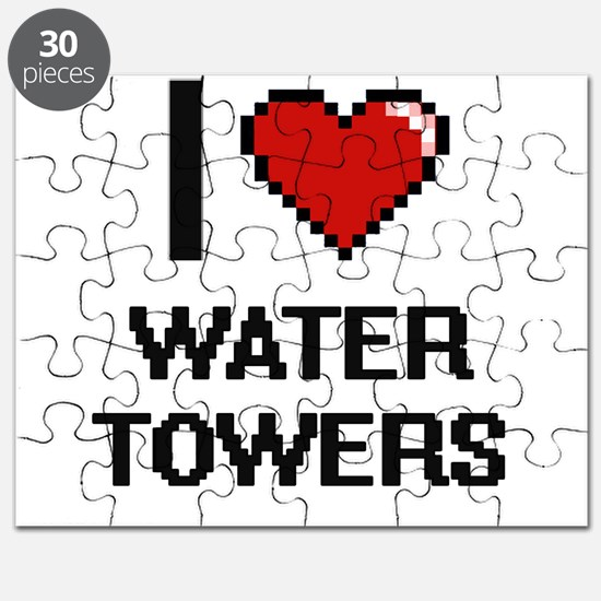 I love Water Towers digital design Puzzle