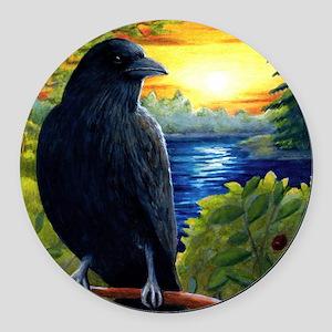 Bird 63 crow raven Round Car Magnet