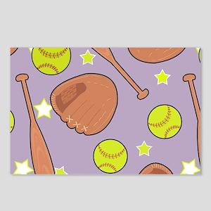 Cute Purple Softball Star Pattern Postcards (Packa