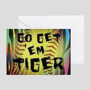 Go Get Em Tiger Softball Greeting Cards