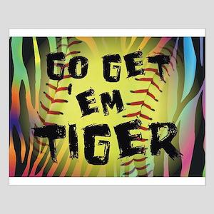 Go Get Em Tiger Softball Motivational Small Poster