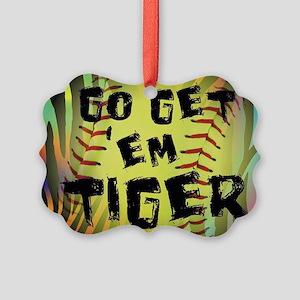 Go Get Em Tiger Softball Motivational Ornament