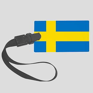 Square Swedish Flag Large Luggage Tag