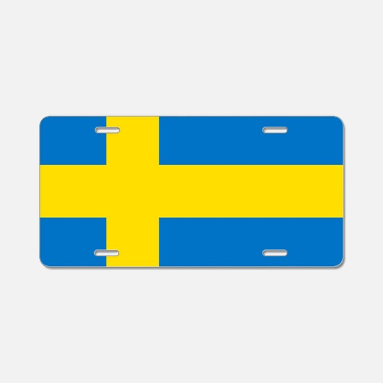Square Swedish Flag Aluminum License Plate