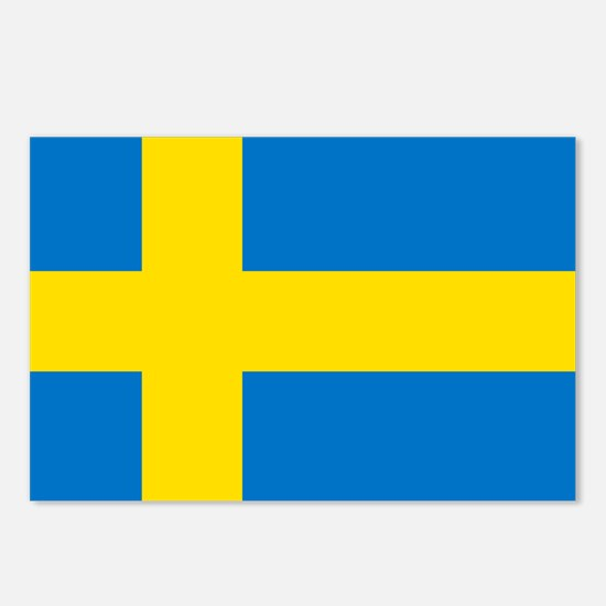 Square Swedish Flag Postcards (Package of 8)