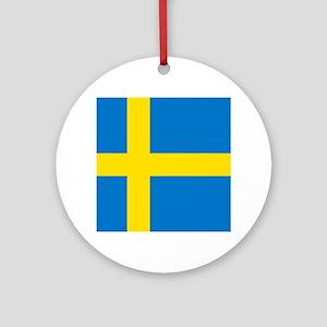 Square Swedish Flag Round Ornament