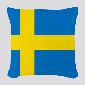 Square Swedish Flag Woven Throw Pillow