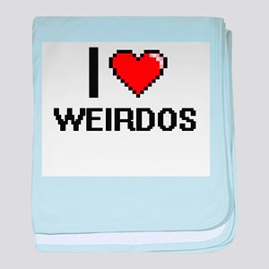 I love Weirdos digital design baby blanket