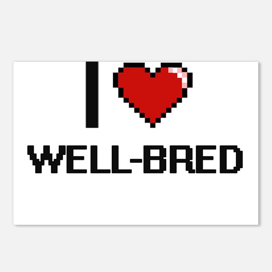 I love Well-Bred digital Postcards (Package of 8)