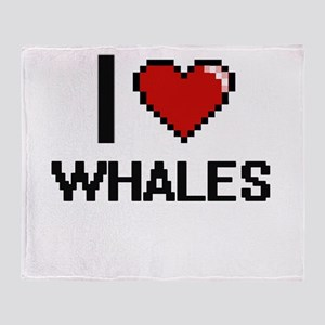 I love Whales digital design Throw Blanket