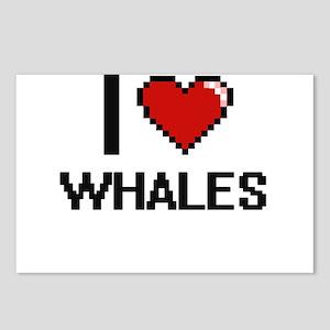 I love Whales digital des Postcards (Package of 8)