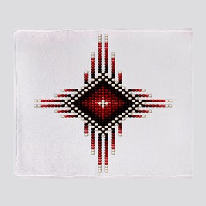 Native Style Red Radiant Sun Throw Blanket