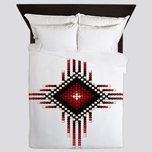 Native Style Red Radiant Sun Queen Duvet