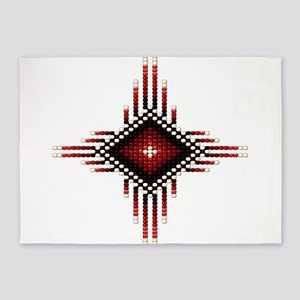 Native Style Red Radiant Sun 5'x7'Area Rug