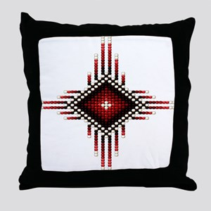 Native Style Red Radiant Sun Throw Pillow