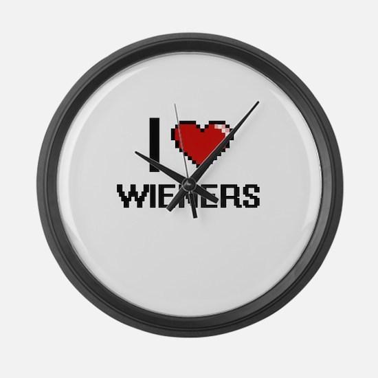 I love Wieners digital design Large Wall Clock