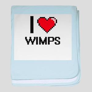 I love Wimps digital design baby blanket