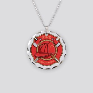 Firefighter Badge Necklace Circle Charm