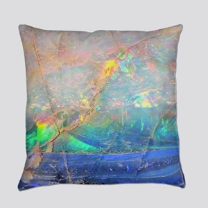 opal gemstone iridescent mineral b Everyday Pillow