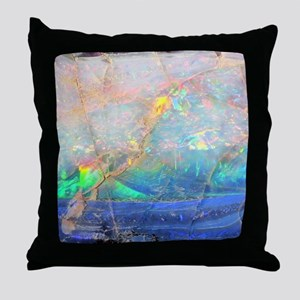 opal gemstone iridescent mineral blin Throw Pillow