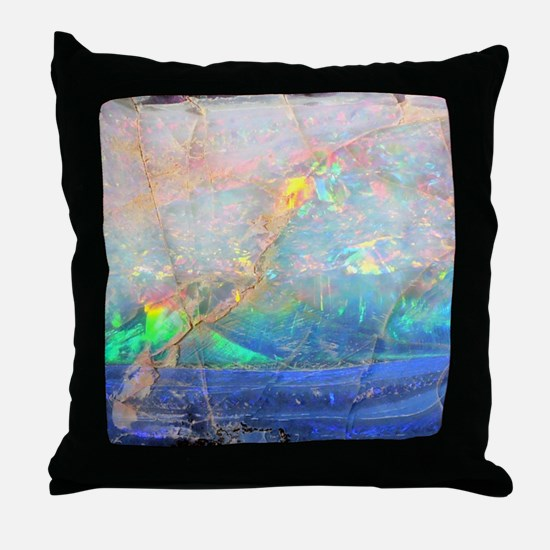 opal gemstone iridescent mineral blin Throw Pillow